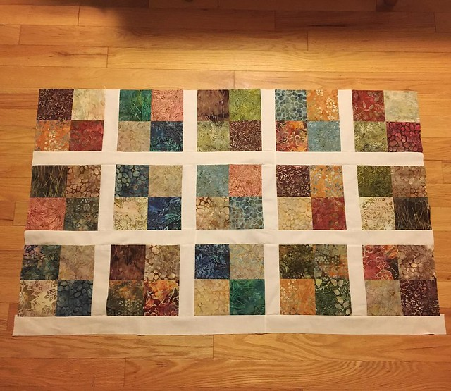 Today's quilting progress. Four more rows to go.