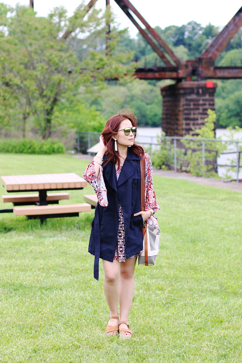 sleeveless trench coat, quay sunglasses, bohemian style, preppy look, outfit, styleanthropy
