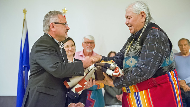 Chief Scientist Fred Wrona and Indigenous Wisdom Panel member Reg Crowshoe at the Indigenous Wisdom Advisory Panel signing ceremony