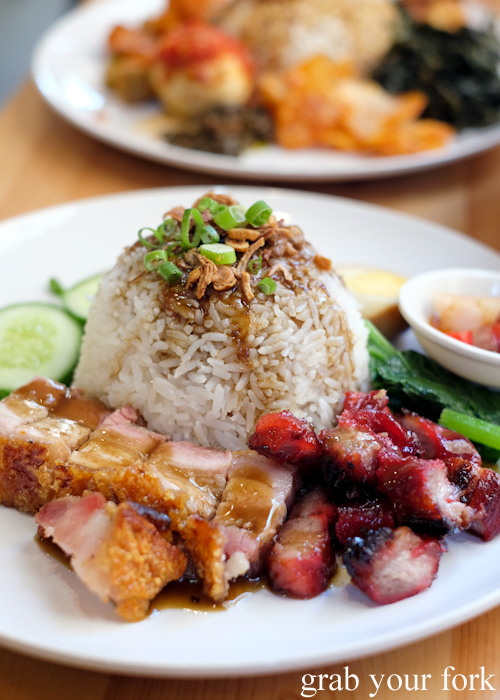 Nasi babi panggang bbq pork and roast pork rice from Medan Ciak Indonesian restaurant in Surry Hills