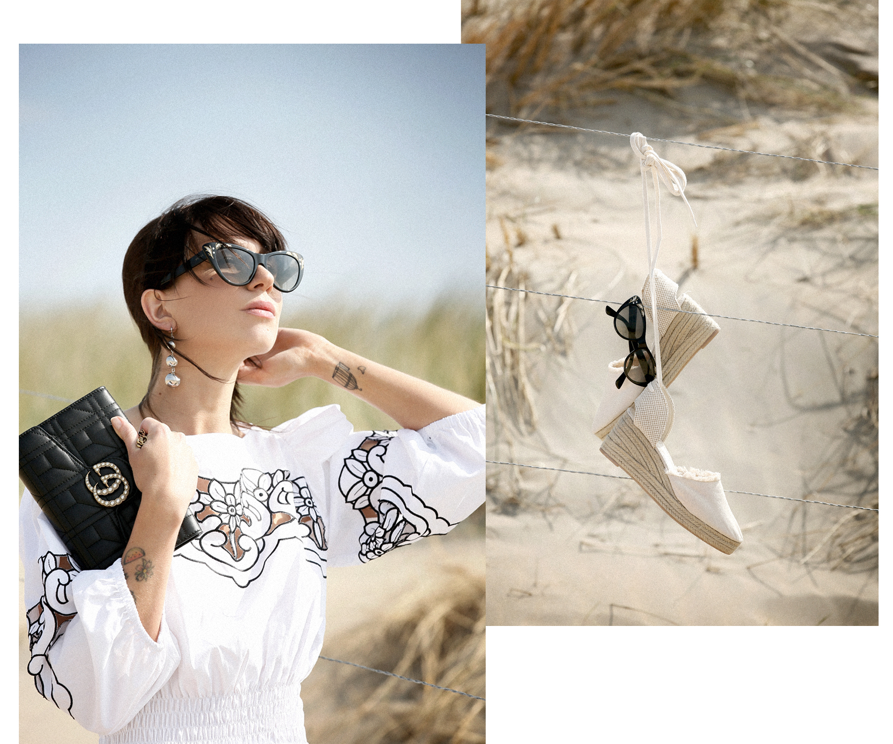 outfit breuninger pinko dress kleid gucci marmont clutch bag chain woc sunglasses blogger fashionblogger white dressing beach dunes summer holiday cats & dogs blog modeblogger ricarda schernus düsseldorf styleblogger sea ocean photography 5