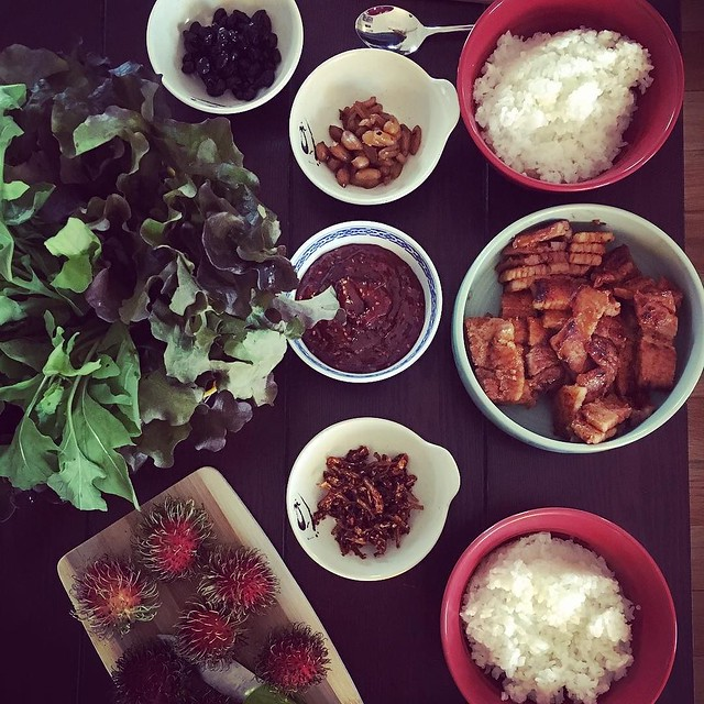 Dinner at home right after an Hmart visit is always the best. Ssam with spicy pork, greens from my CSA, banchan and rambutan for dessert.