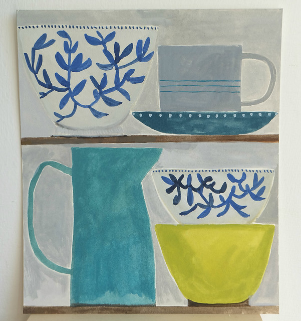 still life with blue patterned bowls