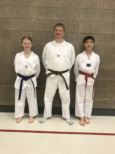 Ms. Brie Anderson, Mr. Rich Anderson, and Mr. Thomas Le looked stellar and successfully completed their 5/18/17 color belt test this evening. Great Job!!