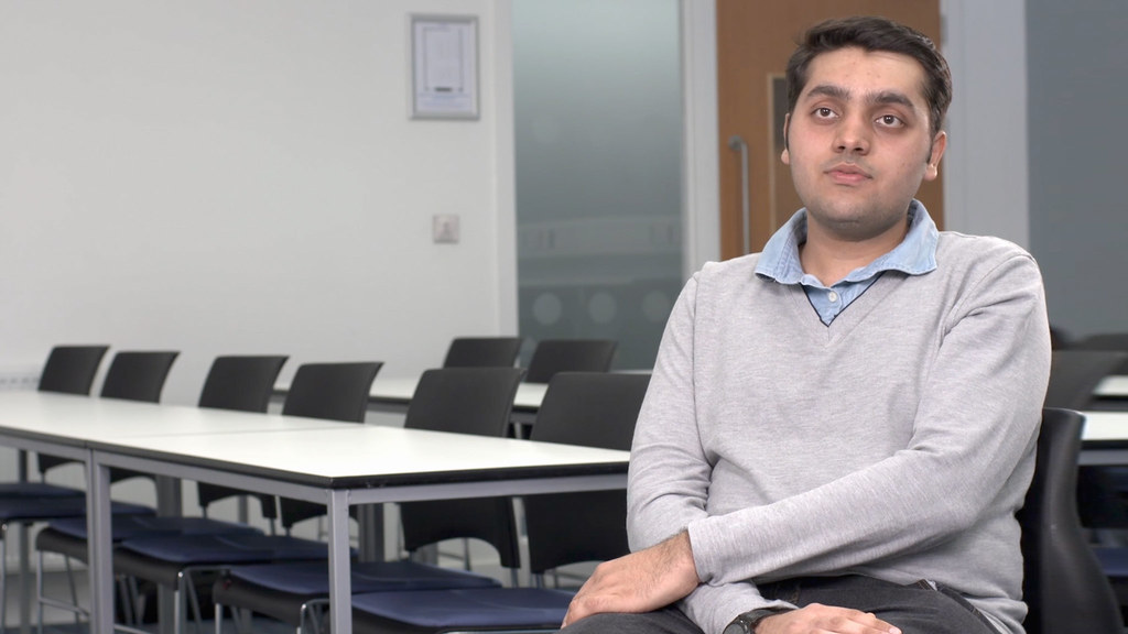 An Indian student discussing his experience as a student at the University of Bath.