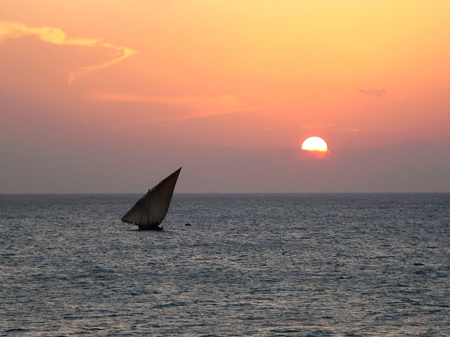 Sunset on the waters of Zanzibar