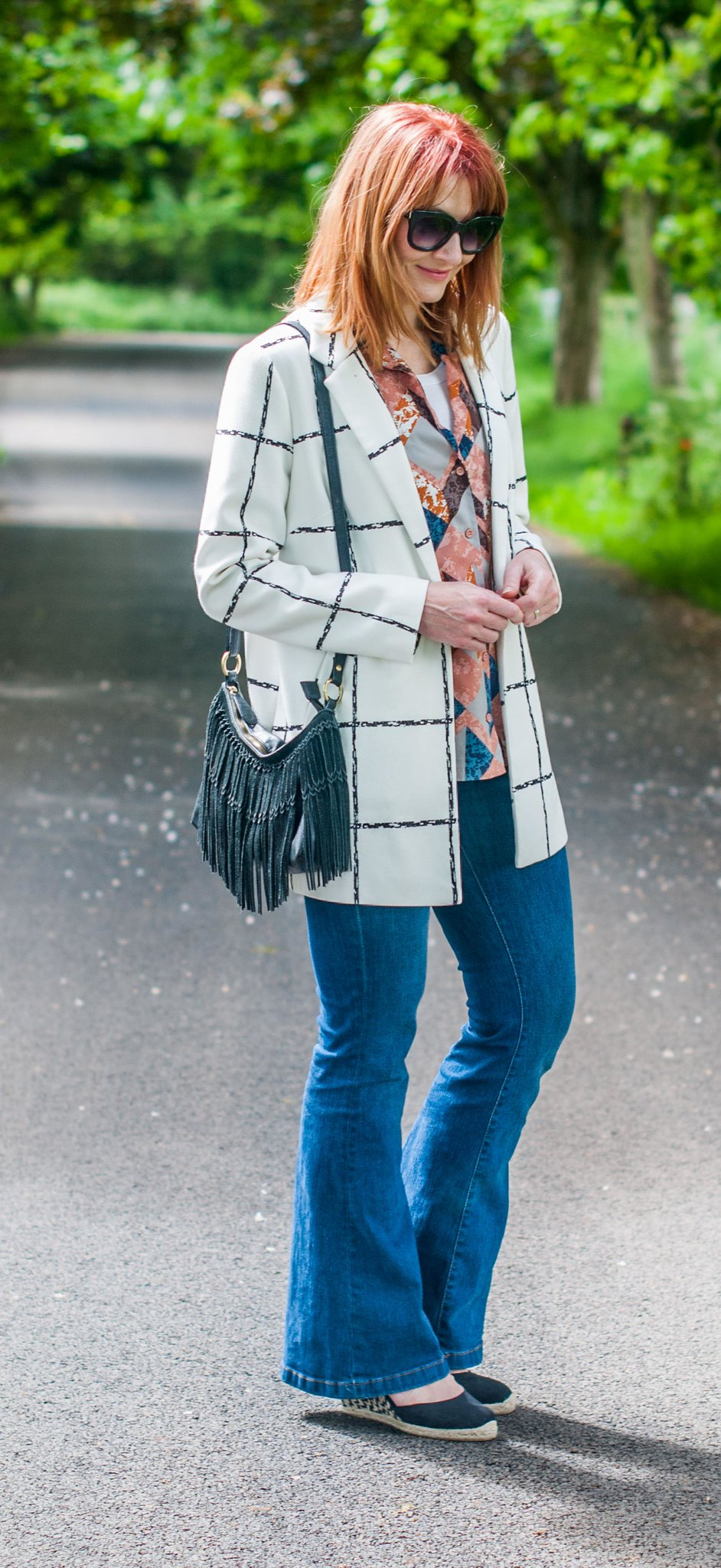 Pattern mixing: Black and white window pane jacket  abstract print pyjama shirt  denim flares  wedge espadrilles | Not Dressed As Lamb, over 40 style