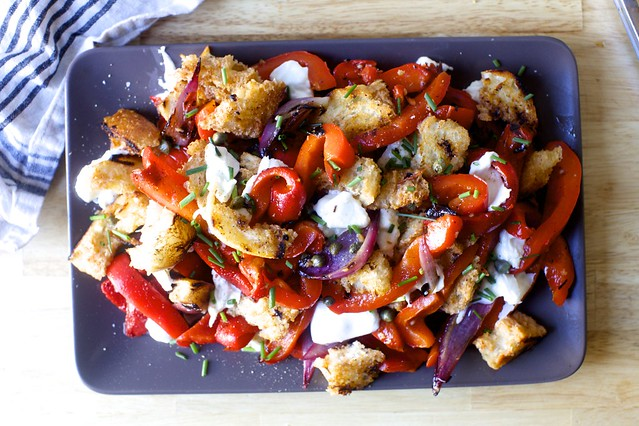 grilled pepper and torn mozzarella panzanella