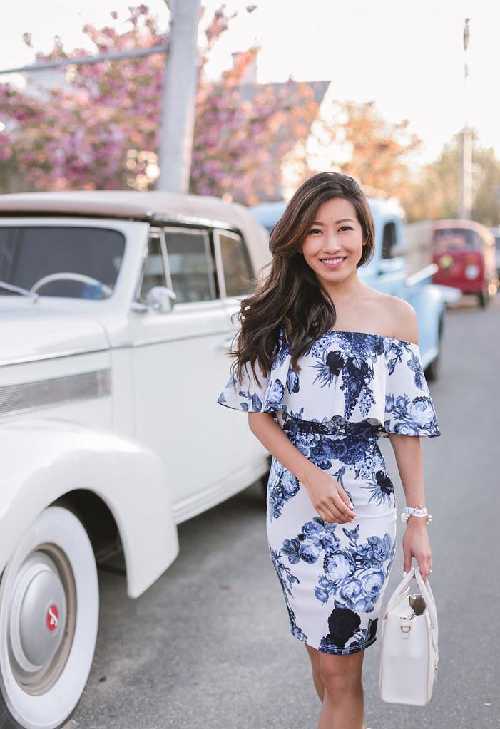 blue white floral bodycon cocktail party dress petite fashion
