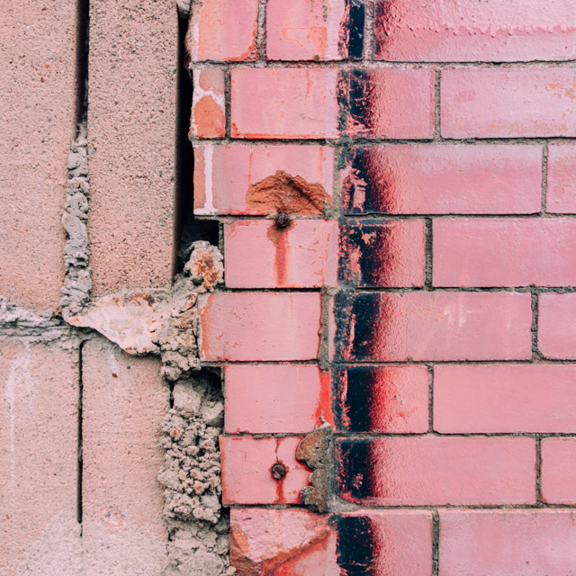 pink and exposed bricks