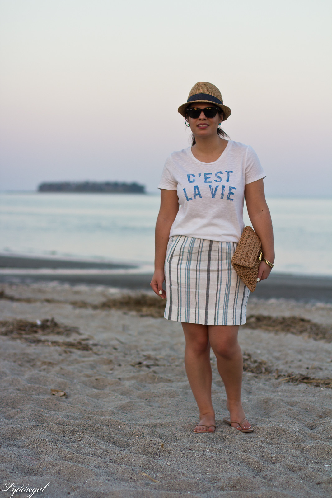 c'est la vie tee, striped linen skirt, straw fedora, clutch-2.jpg