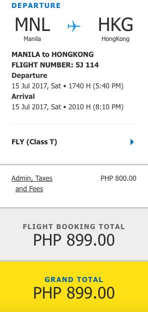 Manila to Hong Kong Promo July 15, 2017