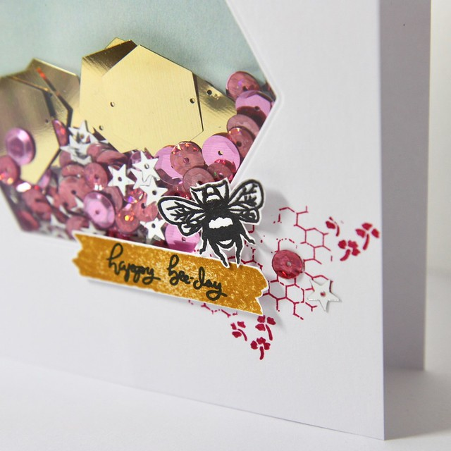 StickerKitten on Hochanda - card 2 - Bee Garden shaker card closeup