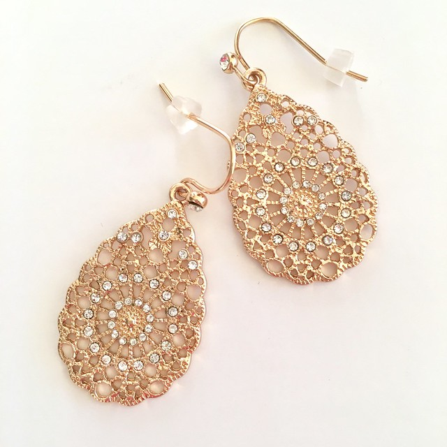 LOFT Crystal Filigree Drop Earrings