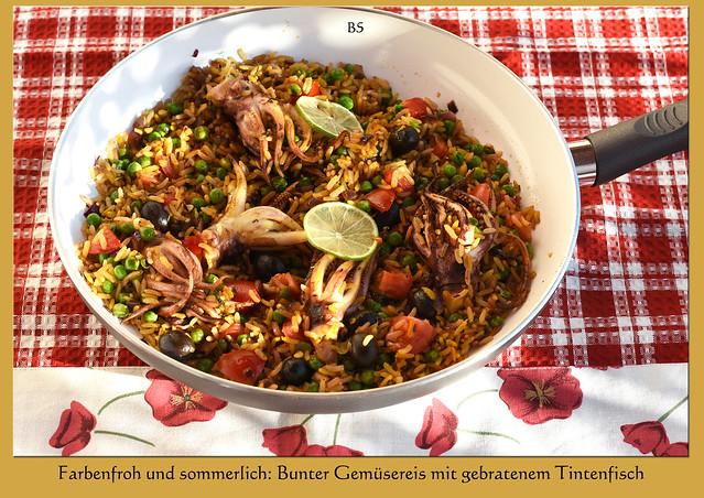 Food-Fotografie / Food-blog ... Farbenfrohe, sommerliche Urlaubsküche: Bunter Gemüsereis mit Tintenfisch ... Foto: Brigitte Stolle, Mai 2017