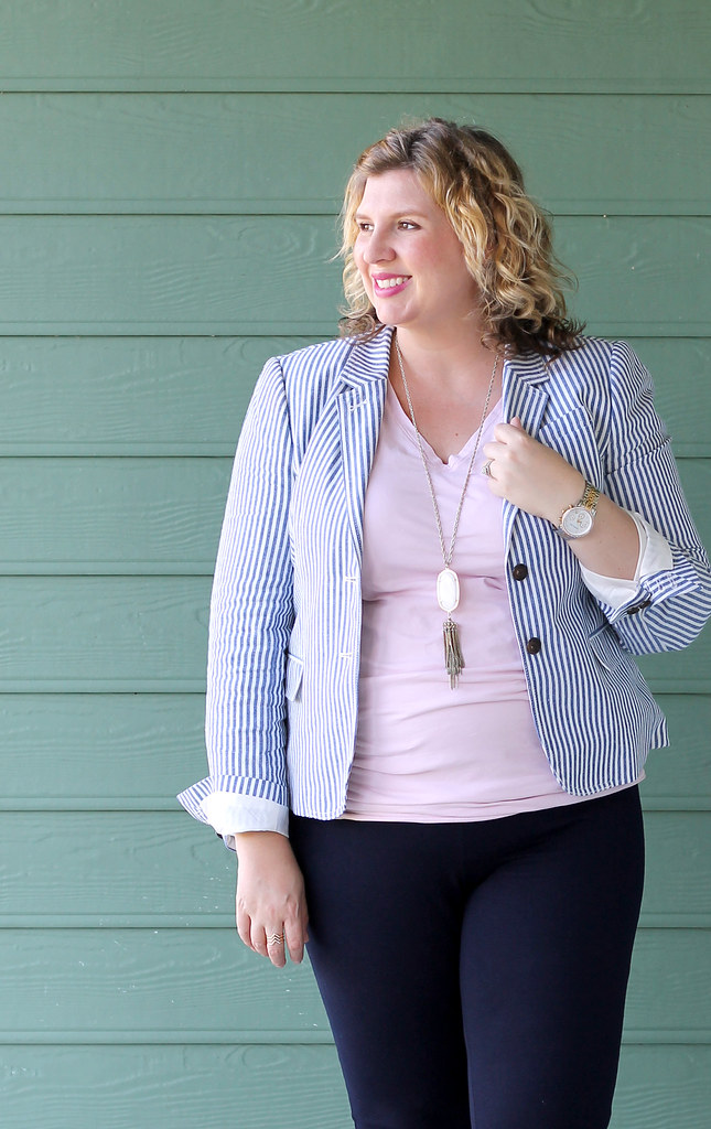 seersucker blazer, navy maternity pencil pants, bow flats 5