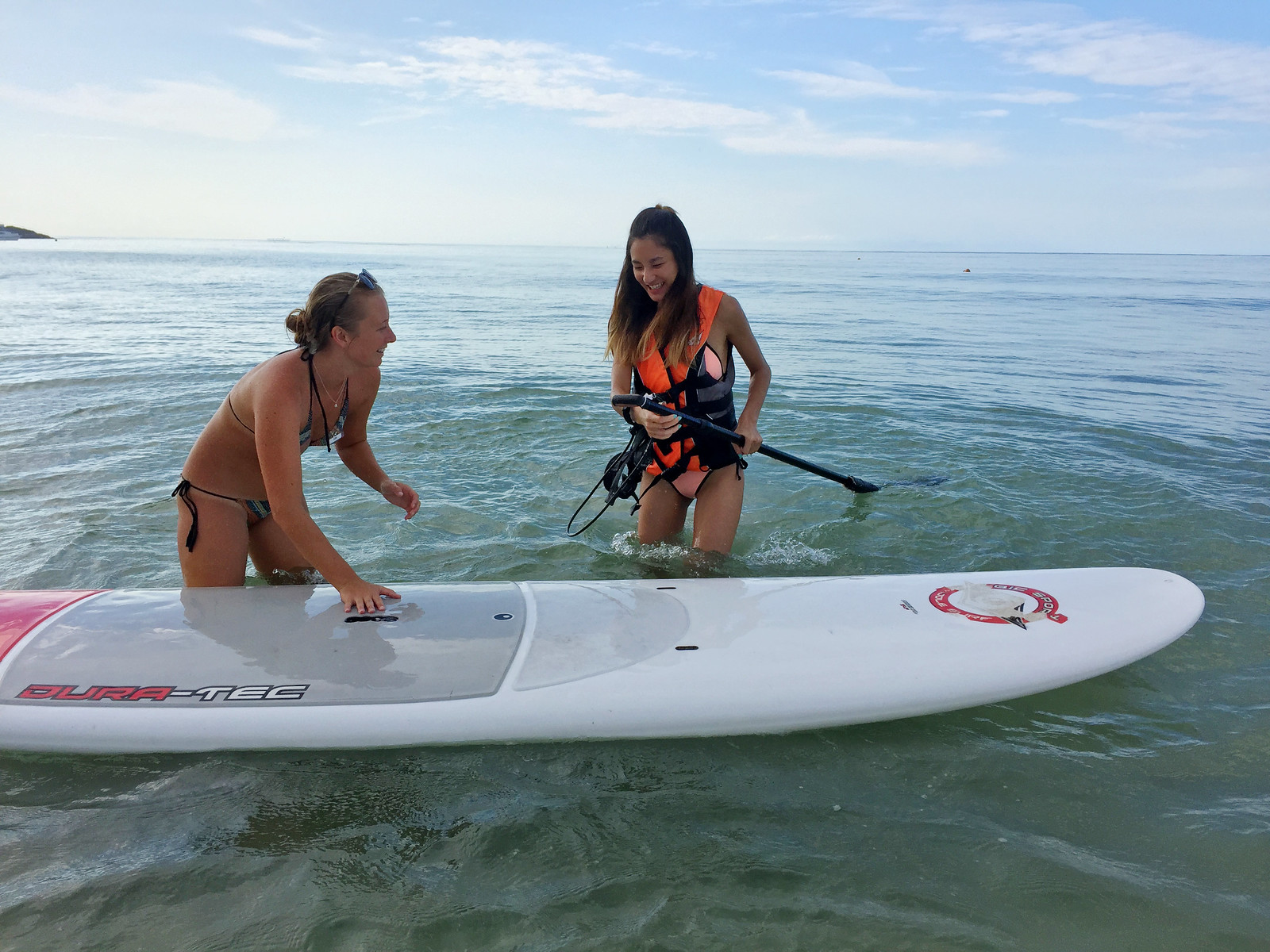 With Ashleigh demonstrating how to paddle board