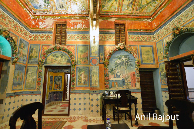 Bedroom wall and cealing paintings, haveli in Churu
