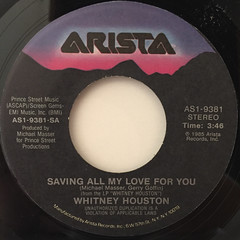 WHITNEY HOUSTON:SAVING ALL MY LOVE FOR YOU(LABEL SIDE-A)