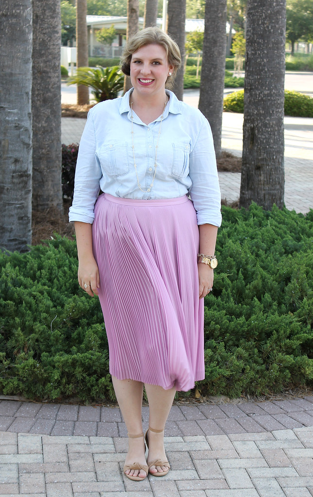pink pleated midi and a chambray shirt 6