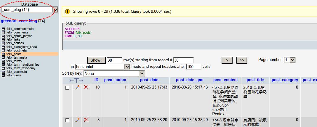 更改 MySQL data base collate 從 latin1_swedish_ci 變 utf8_general_ci