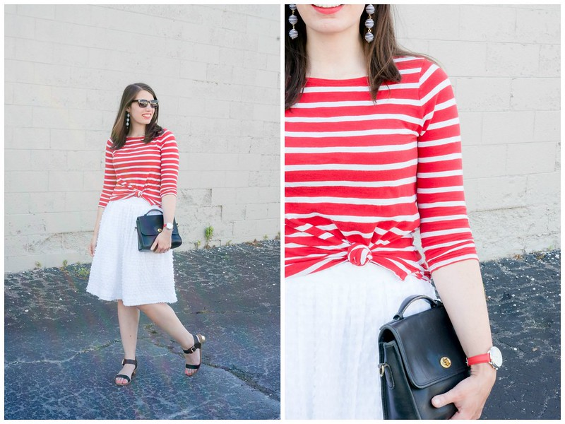 red stripe tee + white midi skirt + stripe drop earrings + black heeled sandals; summer outfit | Style On Target blog