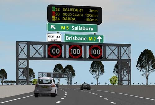 Overhead signs on freeways