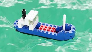 616 Cargo Ship (sea green) by Steven Reid