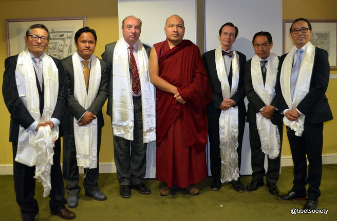 Tibet Society Council Members with His Holiness the Gyalwang Karmapa prior to @TibetSociety event at the Royal Asiatic Society, London. (L to R) Thupten Dompo, Pempa Lobsang, Rt Hon Norman Baker, HH the Gyalwang Karmapa, Riki Hyde-Chambers OBE, Tsering Tashi, Karma Chura-Tsang. @karmapa @tibetsociety