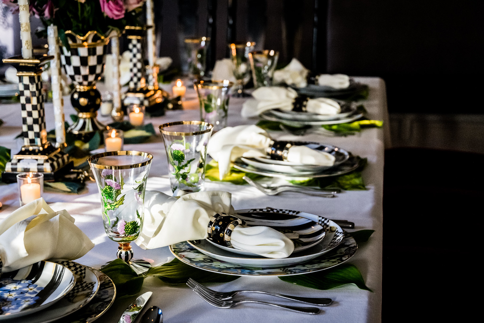 an elegant dinner at the Aurora Inn