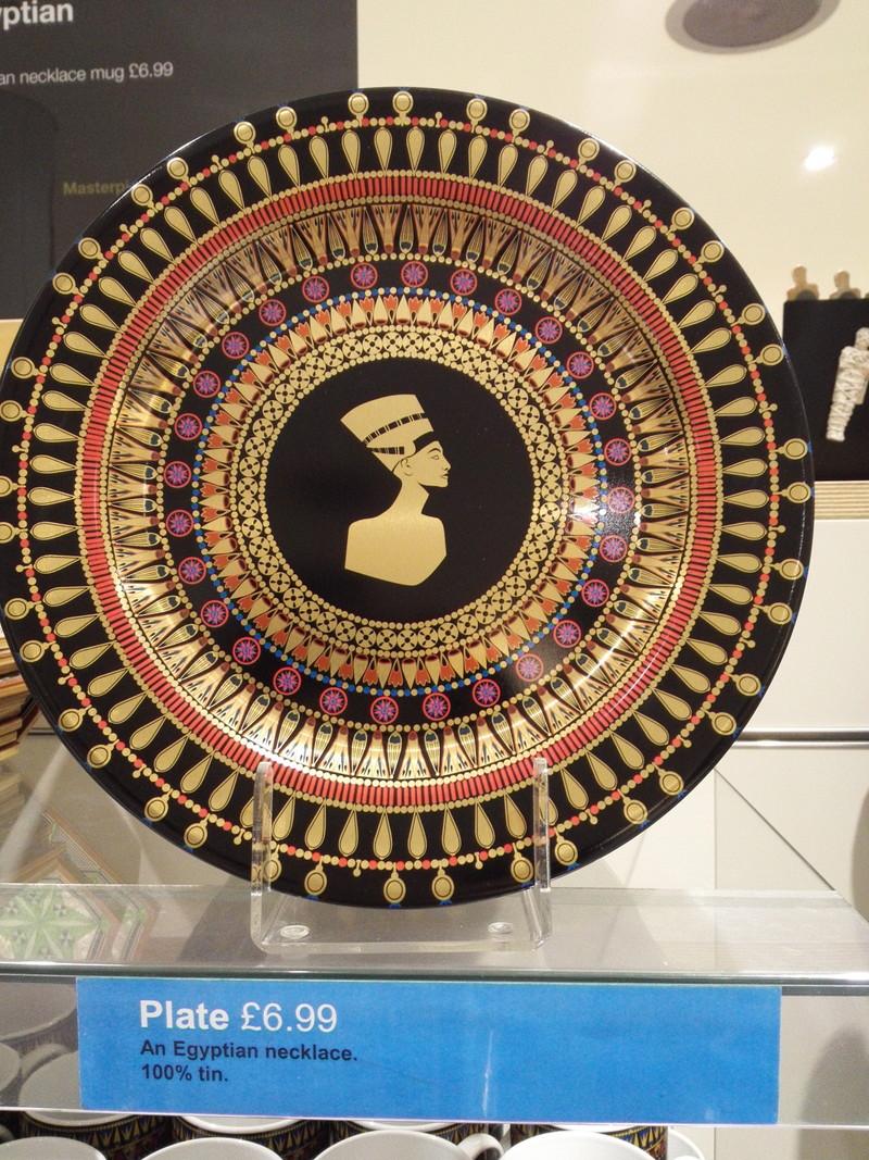 ネフェルティティ柄のブリキ皿