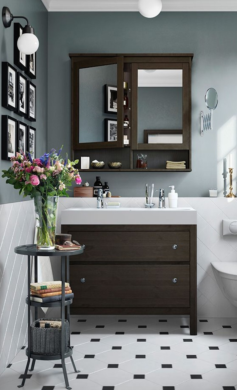 The 15 Best Tiled Bathrooms on Pinterest Classic Ikea Sink Cabinet Bathroom