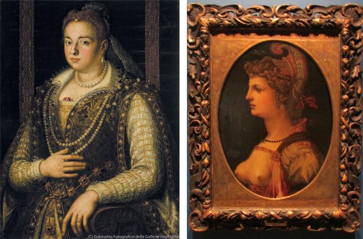 左)ブロンズィーノ《ビアンカ・カペッロの肖像》(1578年以降、ウフィツィ美術館、パラティーナ美術館) 右)バッキアッカ(フランシスコ・ウベルティーニ)《女性の理想的な肖像》(16世紀、富士美術館)