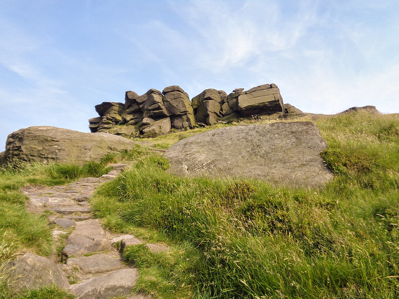 Looking up at Edale Rocks