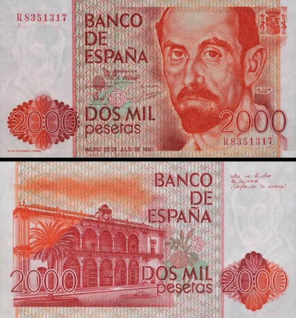 2000 pesiet Španielsko 1980, P159