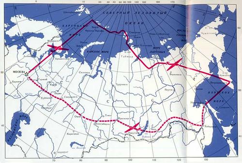 Ruta del vuelo entre Moscú y Petropávlovsk-Kamchatski