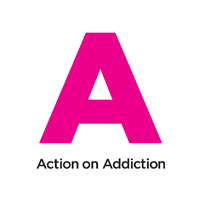 A large letter 'A' in pink with the text 'Action on Addiction' below.