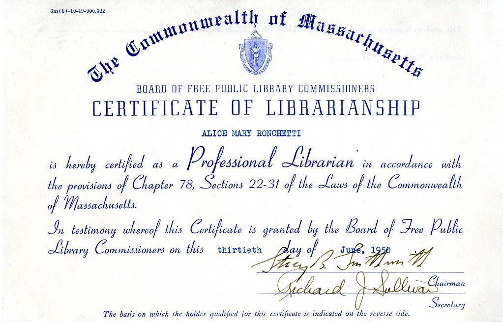 Certificate of Librarianship, front | Content description: C… | Flickr