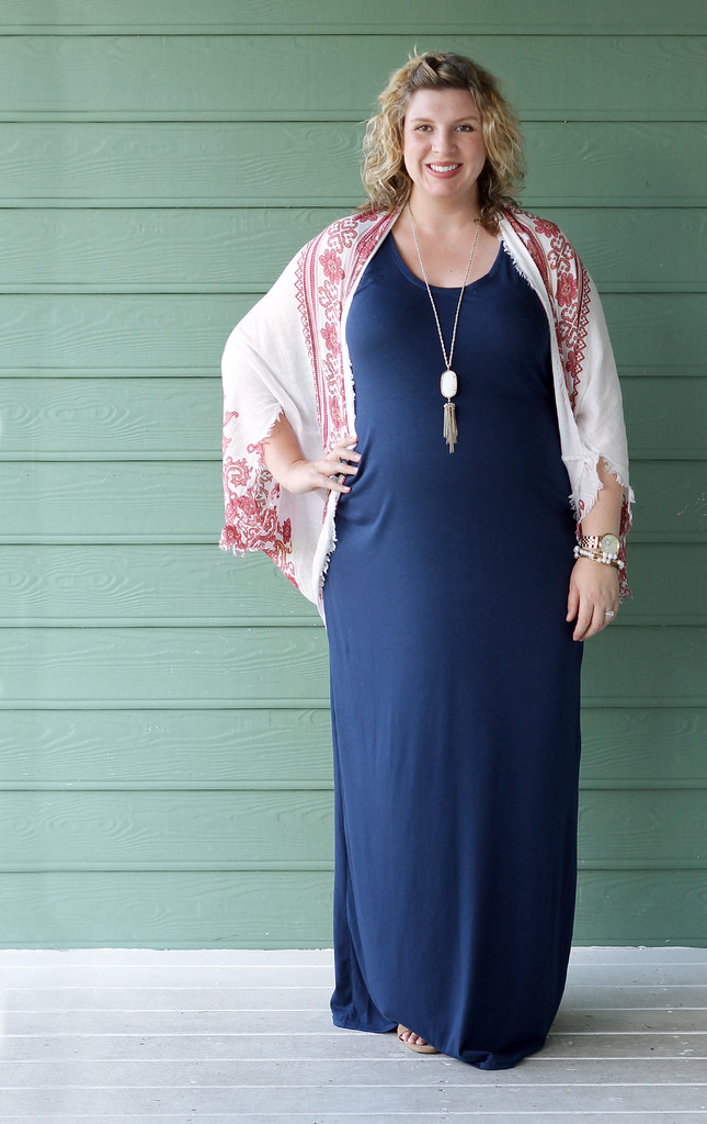 maternity blue maxi dress, white red kimono 6