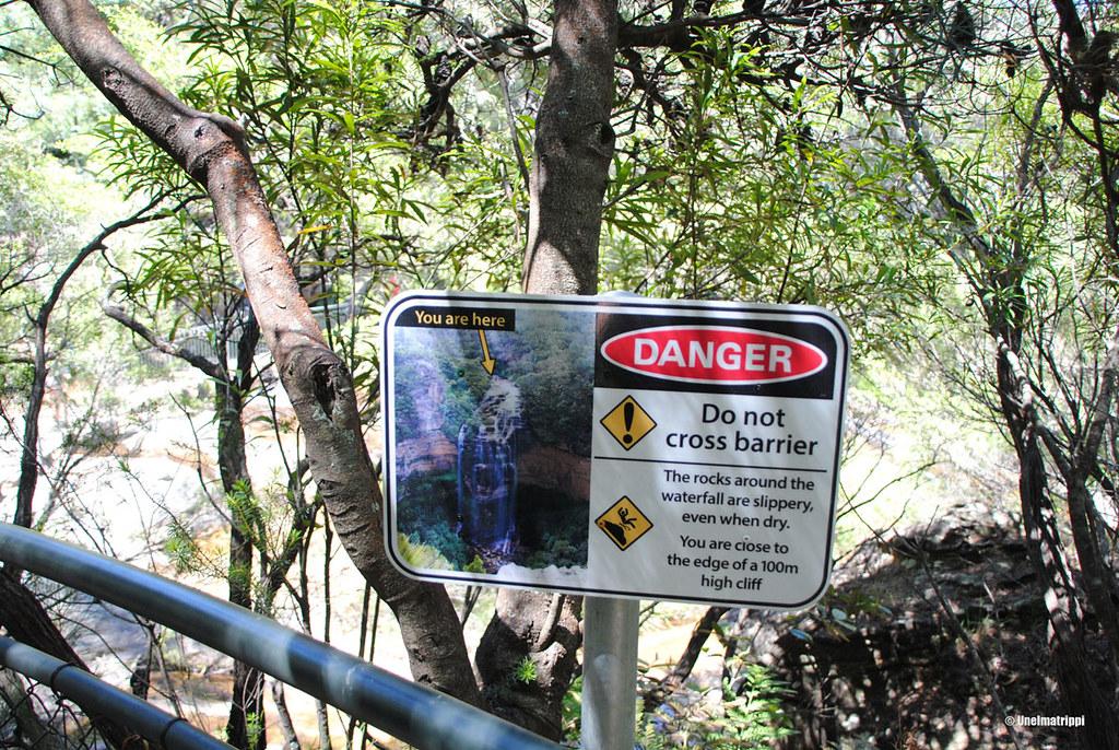 Varoituskyltti Blue Mountainsilla Australiassa
