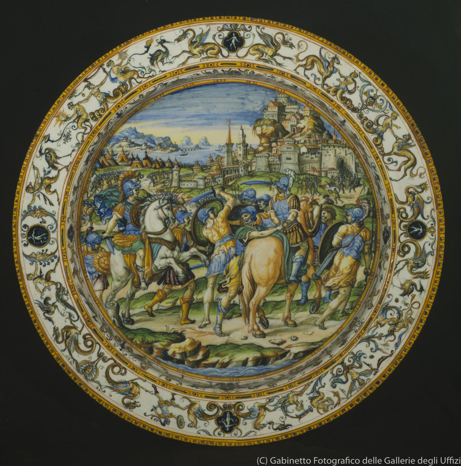 ウルビーノ窯、パタナッツィ工房《市民を救うカエサルが描かれた大皿》(1580-90年頃、バルジェッロ美術館)