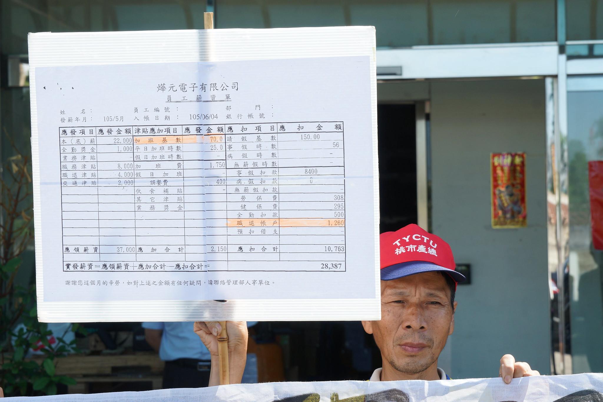 根據薪資單,顯示燁元電子加班費僅70元,且勞退6%從薪資工扣除。(攝影:王顥中)