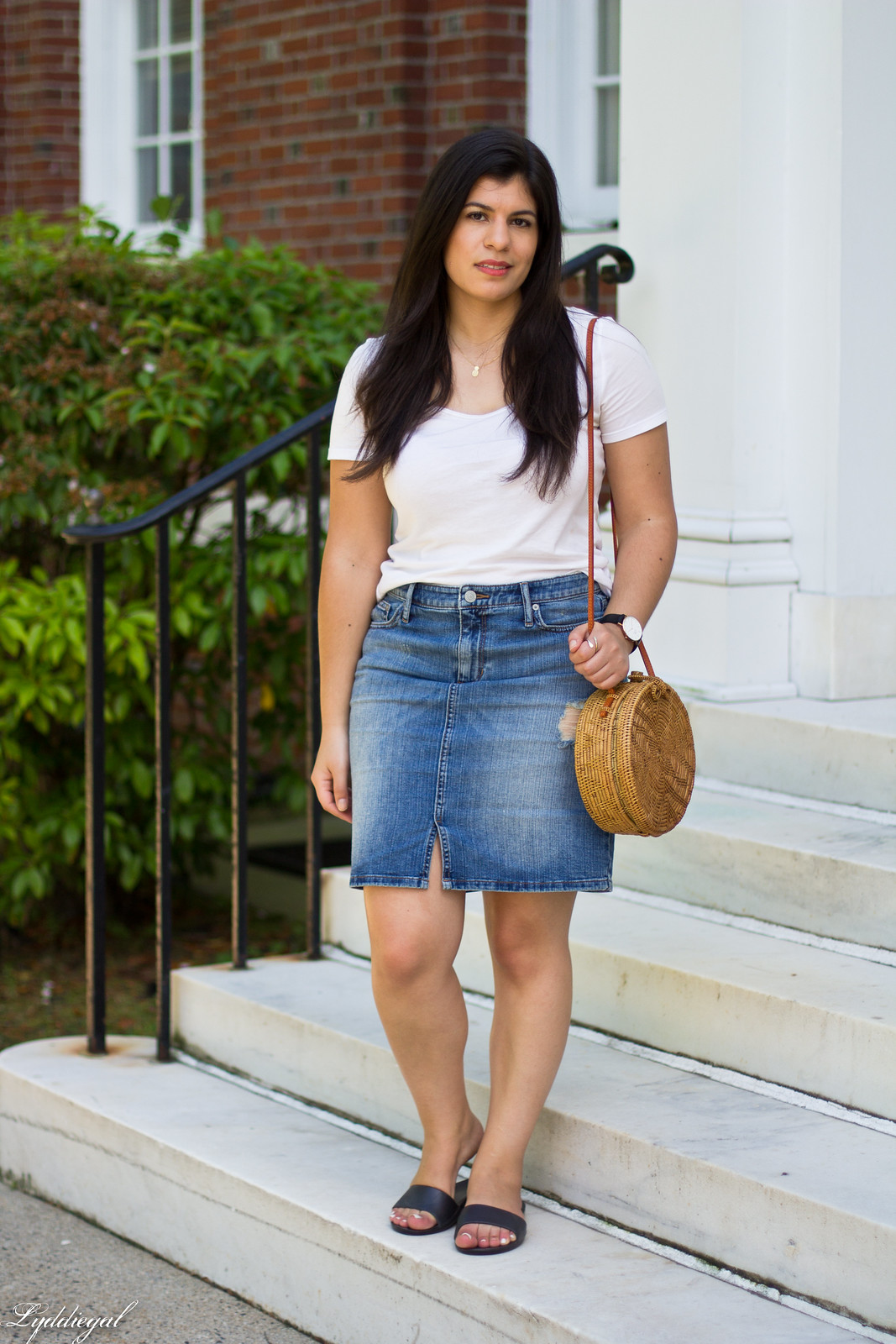 white tee, denim pencil skirt, soak slides, round straw bag.jpg