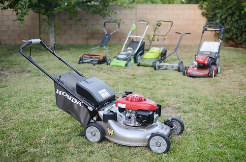 Honda Gas Lawn Mower With Group On Green Lawn Www