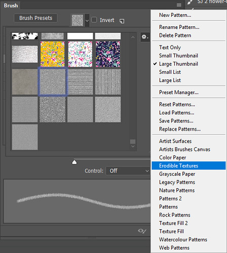 Screenshot of Pattern panel in Photoshop