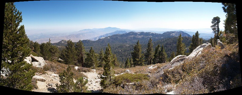 Panorama view south toward Tahquitz and Toro Peaks from Wellman Divide