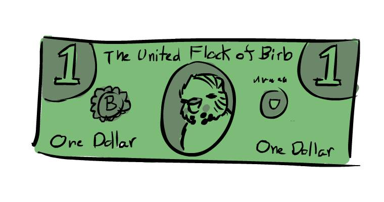 the united flock of birb one dollar green