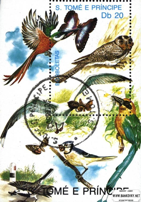 Známky Svätý Tomáš 1991 Motýle, razítkovaný hárček