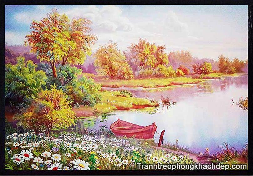 Phong canh dep noi ben thuyen duoc in vai canvas