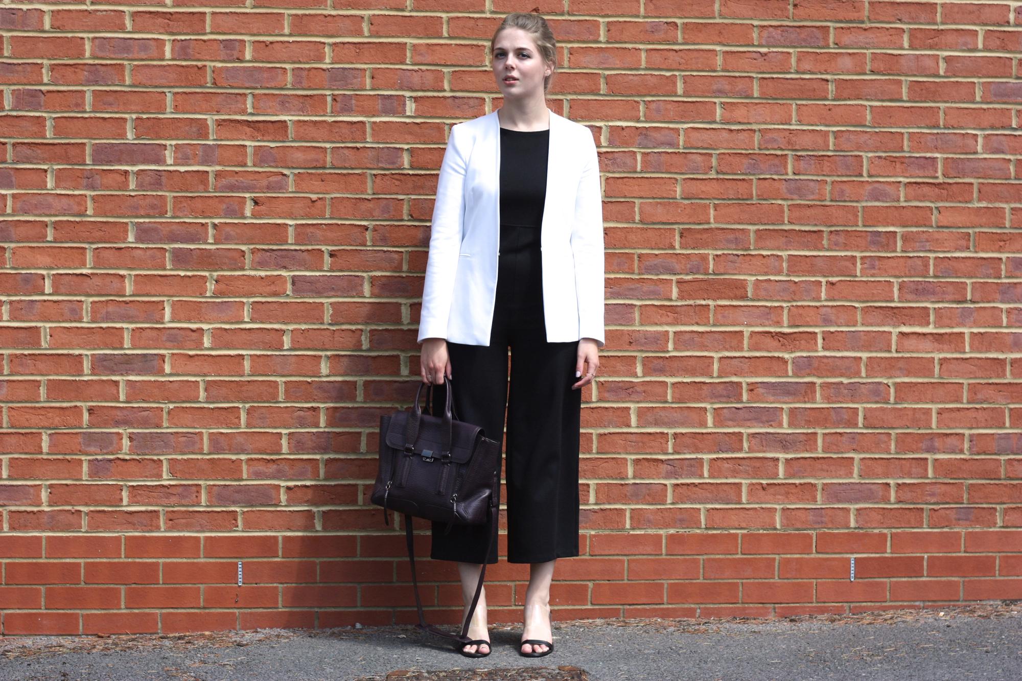 Zara white blazer, Mango perspex heels and Zara black jumpsuit